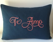 Monogram Pillow Cover. Spanish Language Love. Te Amo I Love You. 12x 16 Throw Pillow. Calligraphy Lettering Font. Romantic Gift. Espaniol.