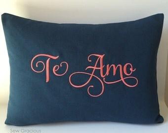 Valentine Monogram Pillow Cover. Spanish Language Love. Te Amo I Love You. 12x 16 Throw Pillow. Calligraphy Lettering Font. Espaniol.