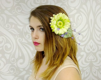 Pinup Girl Hair Clip, Pale Green and Purple, Rockabilly Fascinator, Retro, Woodland, Flower Fascinator, Fairy, Cosplay, Vintage Fashion