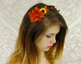 Autumn Flower Headband, BOHO Headband, Rustic Fall FLower Headband, Orange and Brown, Feather, Mori Kei, Rustic, Lolita, Fall leaves