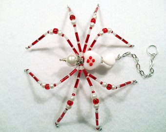 Ardor - red and white glass beaded spider goth sun catcher - Halloween decoration - Christmas ornament