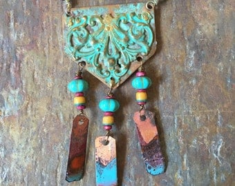 Delicious Bohemian Copper Necklace with Torch Fired Enamel Dangles