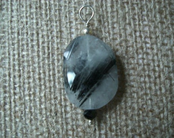 Rutilated Quartz, spinel and sterling pendant