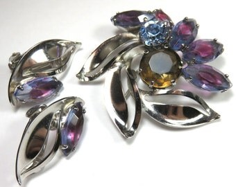SJK Vintage --  Continental Signed Silver Floral Brooch and Earrings Set with Purple and Blue Givre Navette Rhinestones (1960's)