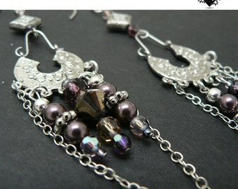 CLEARANCE SALE 40% OFF - Bohemian Silver and Purple Pearl earrings