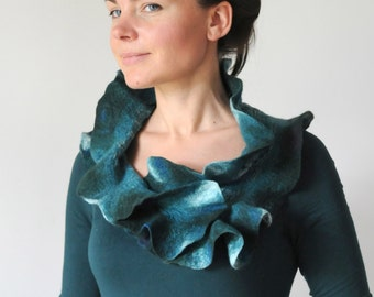 Teal Shadows -- Shawl with Pin -- Nuno Felted Wool OOAK