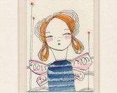 ORIGINAL ACEO, thoughtful woman,  Artist trading cards, ATC whimsical watercolor by cori dantini