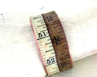 Vintage tape measure Cuff Bracelet numbers prim rustic copper  antique white  and sand
