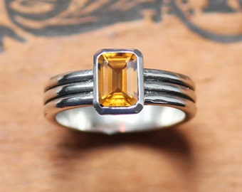 Citrine ring, November birthstone ring, emerald cut ring, triple band ring, oxidized silver ring, bezel set ring,column ring, made to order