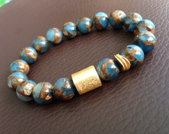Blue/Brown Agate and Gold Filled Bracelet