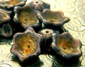 Rustic Fairytale (10) -Czech Glass Domed Flowers 12x11mm