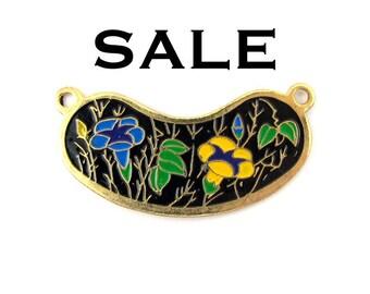 Vintage Yellow and Blue Flowers on Black Cloisonne Enamel Pendants (4X) (E523) SALE - 50% off