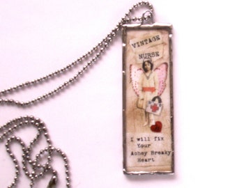 CUSTOM  Microscope Slide Nurse Badge, Soldered Necklace,  Nurse Necklace, Medical Badge, Vintage Nurse, Caregiver Necklace, Nurse ID