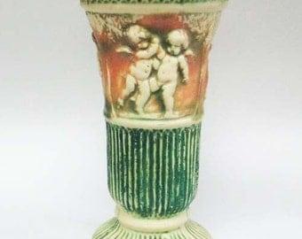 "1916 Roseville Donatello MATTE Double Cherub 12""  Pottery Vase"