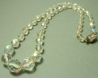Vintage/ estate 1950s glam, single row, aurora borealis crystal bead necklace with paste set clasp. Costume jewelry jewellery, UK seller