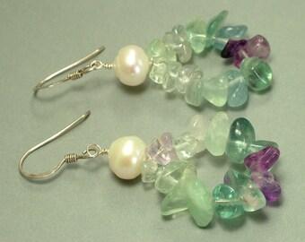 Handmade 925 sterling silver, freshwater pearl and green purple fluorite drop earrings - jewelry jewellery, UK seller