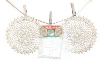 Two Plastic Doilies And Package Vintage Doily Klips