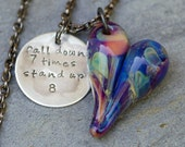 Glass Heart Pendant Necklace Boro Lampwork Jewelry Handstamped Brass Tag, Purple - Fall Down 7 Times