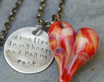 Glass Heart Pendant Boro Lampwork Hand-Stamped Tag Come Live in My Heart