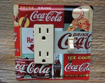Coca Cola Kitchen Decorative Switch Plates For Diner Coke Decor GFCI Outlet Plate Single Rocker Switches Combo Cover GFC-3025C-R