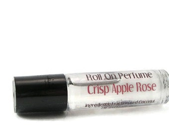 On Sale - Crisp Apple Rose Roll On Perfume - Alcohol Free - Perfect for Travel - Coconut Oil Perfume Roller - Travel Sized - Purse Sized
