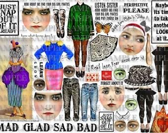ART TEA LiFE Snap Out of It Journal Collage Sheet digital file printable download decoupage clip art scrapbook paper dolls
