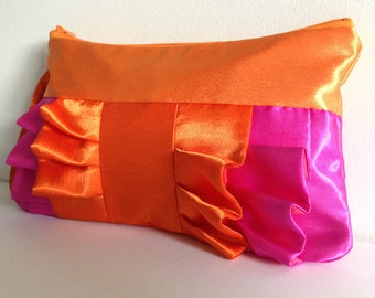 Orange and Hot Pink Satin Ruffle Wristlet