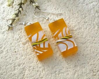 Yellow White Earrings, Dichroic Earrings,Yellow & Silver Earrings, Fused Glass Jewelry, Dichroic Earrings, Dangle Drop Earrings 063015e100
