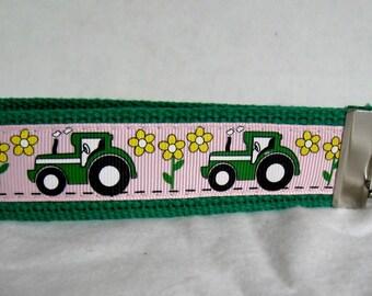 GREEN Tractor Key Fob - Farm Key Chain -  Large Tractor Keychain - Green Pink Tractors