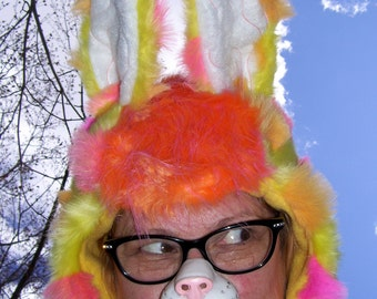 Spotted Bunny Fur Hat Furry Easter Hat Hood Adult Unisex Orange Yellow Pink Spots Easter Rabbit Costume Parade