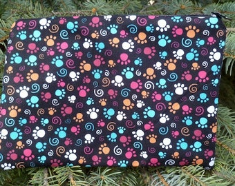 Paw print zippered bag, makeup case, accessory bag, Colorful Paws, The Scooter