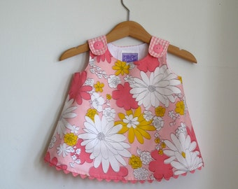 Pink and Tangerine Floral Baby Girls Dress - Baby Girls Summer Sundress  - Size 3 - 6 months - New Baby - Baby Shower Gift - Baby Clothes
