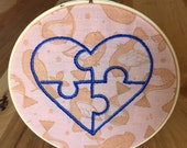 Puzzle Heart Embroidery Hoop - birds