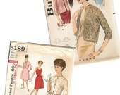 1960 Vintage Evening Wear Sewing Patterns Butterick Jacket 2884 & Simplicity Dress 5189