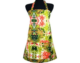 Abstract Butterfly Unique Kitchen Apron , Adjustable with Pocket Green and Orange , Rorschach test