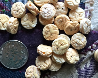 Four Miniature Handcarved Ox Bone Owl Coin Beads 13mm (0.5 inch)