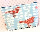 Large Make Up Bag - Handmade Cosmetic Bag - Overnight Toiletry Bag - Cosmetic Pouch - Red & Blue Birds and Blooms Pouch - Large Zipper Pouch