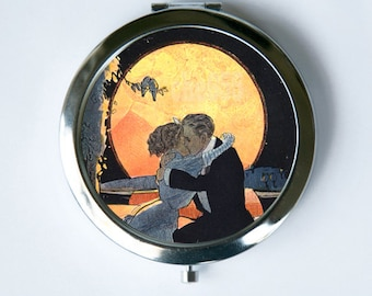 Art Deco Couple Kissing Compact Mirror Pocket Mirror moonlight