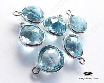 2 pcs 8mm Heart Shape Drops Blue Topaz Pear Shape Pendant Sterling Silver Bezel F417