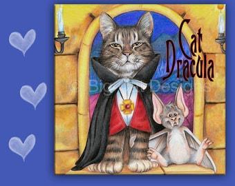 CAT SPOON REST - Cat Tile - Cat Trivet - Cat Dracula - Tabby Cat with Bat - Hanging Cat Sign - Cat Lover Gift - Cat Halloween