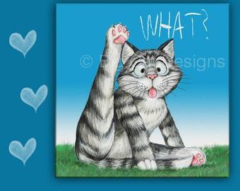 CAT SPOON REST - Cat Tile - Cat Hot Pad - Cat Licking - Cat Sign - Funny Cat Art - Cat Lover Gift - Funny Cat Gift