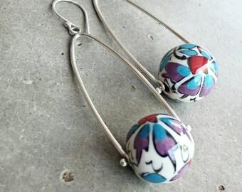 Long dangle earrings with pinned ceramic bead turkish handpainted tulip design