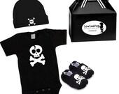 Skull & Suspenders Rockstar Kit black onesie, skull booties, hat and gift box