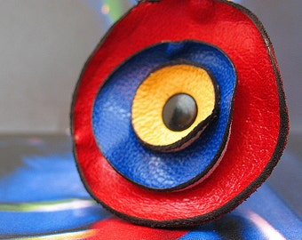 Primary Colors Leather Flower Ring, You Choose Size, Eco-Friendly Leather, OOAK