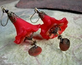 Flamenco Skirts, Red Flower Earrings, Elksong Jewelry, Fiery Colored, Brass Filigree, Statement Earrings, Faery Couture, Crimson Blossoms