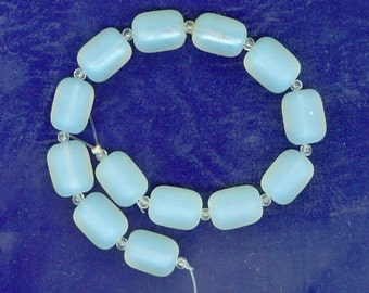 Sea Glass Barrel Nugget Beads Opaque White Set of 13