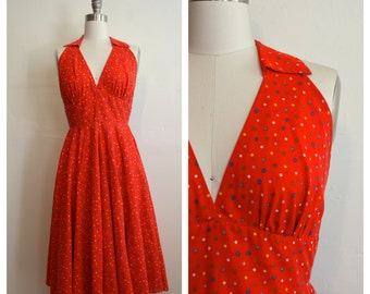 1950s colorful polka dot halter MARILYN dress (xs)