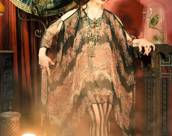 one left Limited Edition Darkling Caftan Dress in Black Paisley Chiffon from my Opium Dreams collection by Louise Black