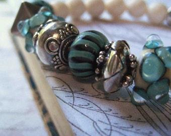 Lampwork Bracelet, Artisan Glass, White Coral Beads, Natural Coral, Sterling SIlver, Bali Beads, Aqua Teal Black, Artisan Beads, candies64