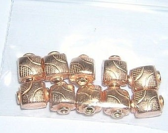 SQUARE COPPER Plated beads (10) 7 x 10MM